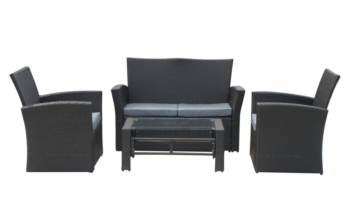 gartenm bel set london metall kunststoffgeflecht. Black Bedroom Furniture Sets. Home Design Ideas