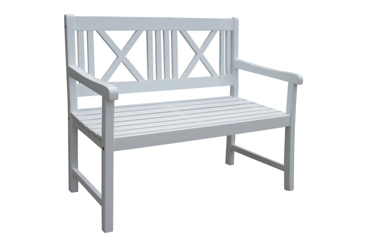 holz gartenbank pampa 2 sitzer akazie wei lackiert. Black Bedroom Furniture Sets. Home Design Ideas