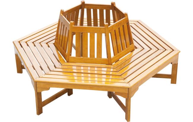 baumbank diaz 6 eckig eiche natur ge lt. Black Bedroom Furniture Sets. Home Design Ideas
