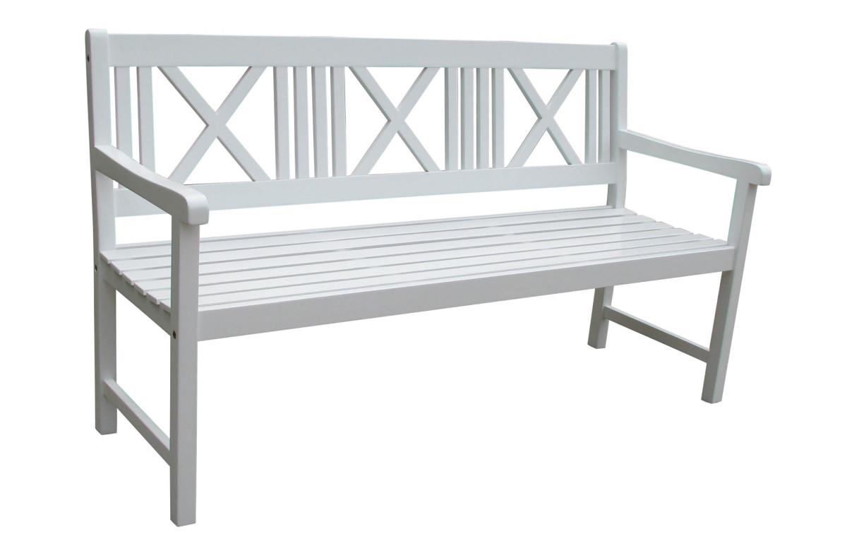 holz gartenbank pampa 3 sitzer akazie wei lackiert. Black Bedroom Furniture Sets. Home Design Ideas